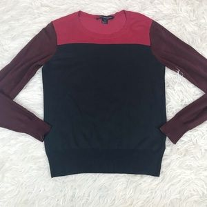 French Connection Maroon Navy Colorblock Sweater